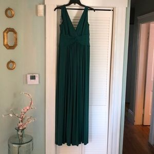 Emerald green floorlength gown, size medium